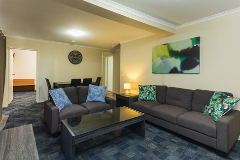 Living/Dining Area in Three Bedroom Apartment at Nightcap at Balaclava Hotel