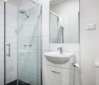 Ensuite Bathroom in Studio Double at Nightcap at Caringbah Hotel