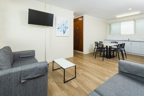 Living and Dining Area in Three Bedroom Apartment at Nightcap at Edge Hill Tavern