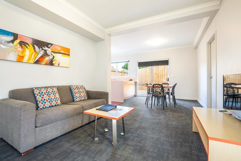 Living Area in Two Bedroom Apartment at Nightcap at Ferntree Gully Hotel Motel