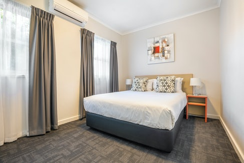 Bedroom in Two bed apartment at Nightcap at Ferntree Gully Hotel Motel