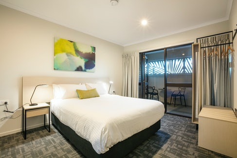 Bedroom in Three Bedroom Apartment at Nightcap at Kawana Waters Hotel