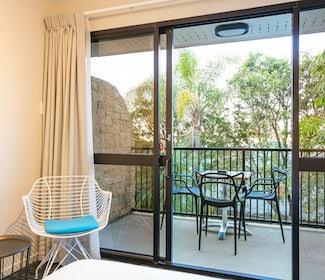 Balcony in Room at Nightcap at Kawana Waters Hotel