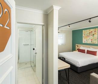 nightcap at balaclava hotel studio queen and sofa room entrance