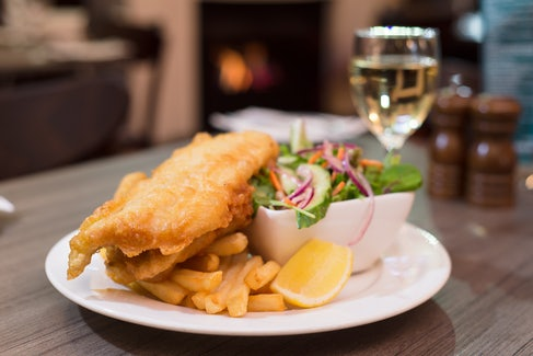 Fish n Chips at Rose and Crown Hotel