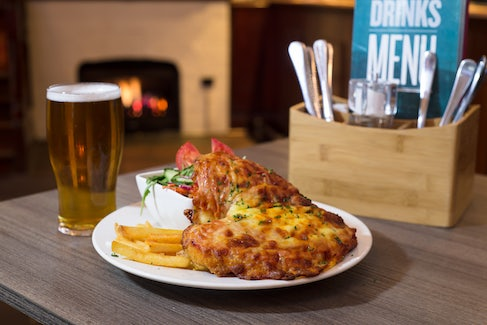 Chicken Parma and Beer at Excelsior Hotel